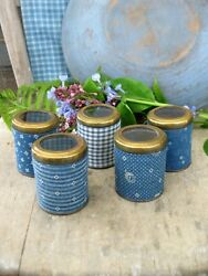 Set Of 5 Antique Spice Tins W Brass And Glass Lids 1890s Blue Calico