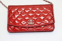 Wallet On Chain Clutch Quilted Brilliant Woc Red Patent Leather Crossbody