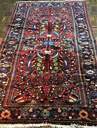 Antique Mahal Near Eastern Hand-woven Rug Natural Dyes Circa 1900 5'4 8'2
