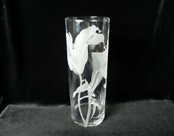Perry Coyle Crystal Art Glass Vase Etched Iris Large 11 Signed