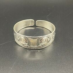 Haida Sterling Silver Eagles And Frog Bracelet By James Mcguire