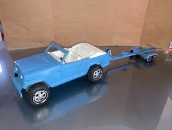 Vintage Blue Tonka Jeep Jeepster With Tonka Trailer - Boat Is Not Included