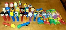 Vintage Lot Of 28 Pez Dispensers - Mickey, Snoopy, Peanuts, Goofy, Ganzo And More