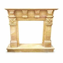 Camino In Marmo Giallo Siena Antique Classic Yellow Marble Fireplace H 110cm