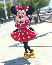Top Sale】hot Minnie Mouse Mascot Costume Adult Size Party Dress Suit Halloween