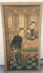 Large Antique Chinese Painting Of Ladies Early 20th Century