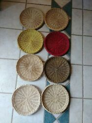 Vintage Wicker Paper Plate Holders Bamboo Reusable Picnic Set Of 8 Sturdier