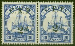 Cameroon 1915 2d On 20pf Ultramarine Sgb4a Surch Double One Albino V.f Mnh In