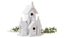 White Bird House Wood Chic Decorative Crafted Victorian Style Decor Birds Nature
