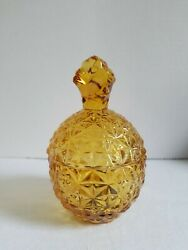 Amber Glass Pineapple Gold/yellow Mikasa Lidded Compote/candy/trinket Dish