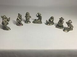Disney Snow White And Seven Dwarfs Pewter Figurines With Faux Jewels-free Shipping