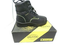 Oliver 55246 Black Menand039s Steel Toed Lace Up Work Boots With Internal Metatarsal