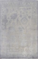 Vegetable Dye Carved Gray Oushak-chobi Area Rug Level Loop Pile Hand-knotted 4x6