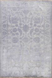 Vegetable Dye Carved Gray Oushak-chobi Area Rug Level Loop Pile Hand-knotted 5x7