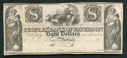 1800's 8 Peoples' Bank Of Paterson New Jersey Obsolete Remainder Note