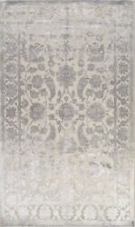 Vegetable Dye Carved Oushak-chobi Area Rug Level Loop Pile Hand-knotted Wool 6x9