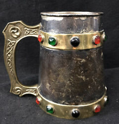 John Coiner Jeweled Tankard Silver Plated  Brass Renaissance Game Of Thrones