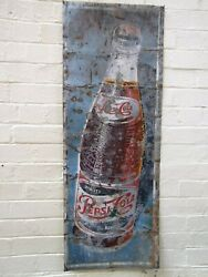 Pepsi Cola Aust. Metal Tin Sign Vintage Retro Garage Bar Man Cave Shed 1950 Rare