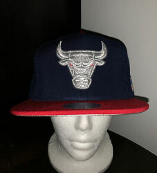 Mitchell And Ness Chicago Bulls Hi Crown 2tone Silver July 4th 🇺🇸 Snapback Hat