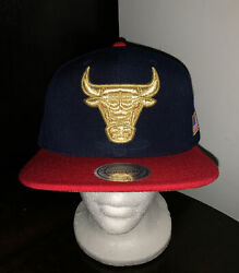 Mitchell And Ness Chicago Bulls Hi Crown 2tone Gold July 4th 🇺🇸 Snapback Hat