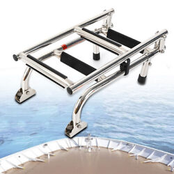 Stainless Steel Telescoping 4 Step Boat Ladder Swim Upper Platform Marine Yacht
