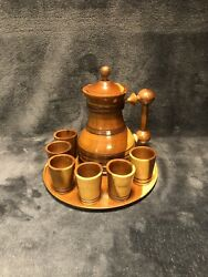 Vintage Wooden Whiskey Decanter With Tray And Six Shot Glasses