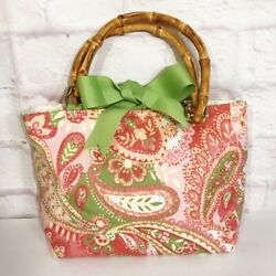 Tasselled Totes Women#x27;s Bag Pink Paisley Fabric Dual Bamboo Handles Bow Purse $34.99