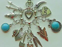 NATIVE AMERICAN INDIAN CHIEF FEATHERS KEY CHAIN CLIP FOR PURSE FOB DESIGNER BAGS $14.99