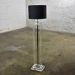 Art Deco Revival Hollywood Regency Lucite And Brass Plate Floor Lamp
