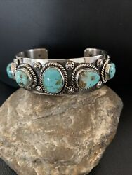 Stunning Navajo Sterling Silver Blue Royston Turquoise Cuff Bracelet 5stone 1383