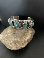 Navajo Sterling Silver Blue Royston Turquoise Cuff Bracelet 5 Stone 1384