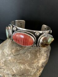 Navajo Sterling Silver Green Royston Turquoise Spiny Oy Cuff Bracelet 3stone1379