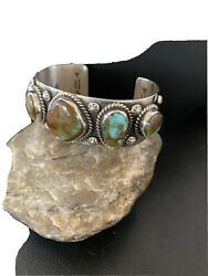 Navajo Sterling Silver Green Royston Turquoise Cuff Bracelet 5 Stone 1380