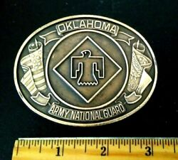Vintage Oklahoma Army National Guard 45th Infantry Brigade Brass Belt Buckle