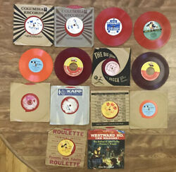 Lot Of 14 Vintage Playtime, Disney And More 45rpm Records- Red Vinyl