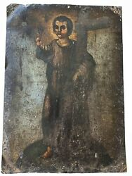 Antique Jesus W Crucifix Spanish Colonial Mexican Folk Art Oil Painting On Metal