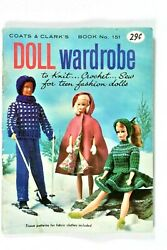 X10 Vintage Doll Wardrobe Barbie And Ken Crochet Knitting And Sew Pattern Book 1964