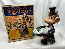 Vintage Short Snort The Mystery Drinking Monkey- Louis Marx Toys Plastic Wind Up