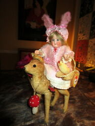 Antique Rabbit-bunny Doll/glass Eyes With Steiff Bambi/deer  Germany
