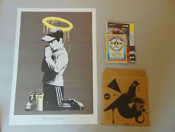 Original Banksy Forgive Us Our Trespassing Dont Panic Poster Print With Envolope