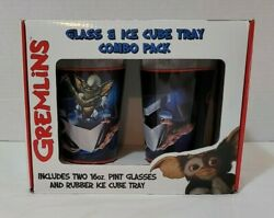 Gremlins Two 16 Oz. Pint Glasses And Rubber Ice Cube Tray Collectible Set New