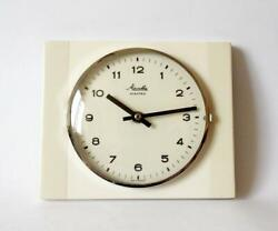 Vintage Pop Art Style 1960s Ceramic Kitchen Wall Clock Mauthe Made In Germany