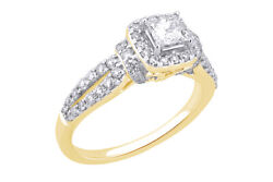 1.00 Cttw Diamond Halo Engagement Ring 14k Yellow Gold Over 925 Sterling Silver