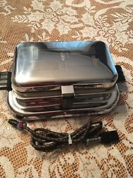 Vintage General Electric 119g37 Table Top 1940s Chrome Steel Waffle Iron - Works