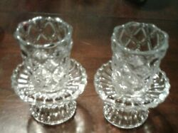 Retired 2 Partylite P9246 Quilted Peglite Votive Cups Grommet Bases Clear Glass