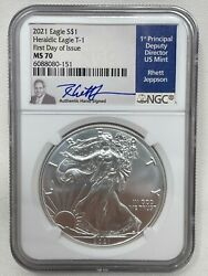 2021 Us Silver Eagle Ngc Ms 70 Type 1 First Day Of Issue Rhett Jeppson Low Pop