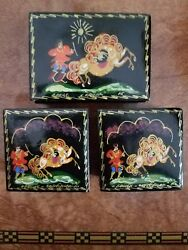 Russian Palekh Lacquer 3 Boxes The Little Humpbacked Horsefolk Fairy Tale 1976