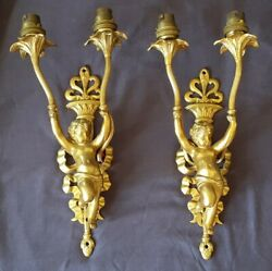 Pair Of Antique Solid Brass G.e.c Electric Cherub Wall Sconces