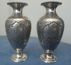 Fascinating Persian Pair Solid Silver Vases Hallmarked Zoufan