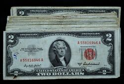 100 1953-1963 2 United States Notes ✪ Low Grade / Cull ✪ Red Seal ◢trusted◣